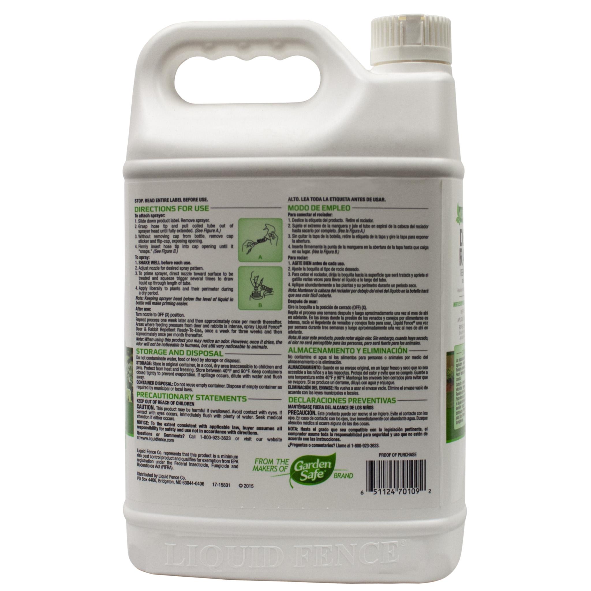 Liquid Fence Deer Rabbit Repellent RTU 109 1 Gallon Free Shipping