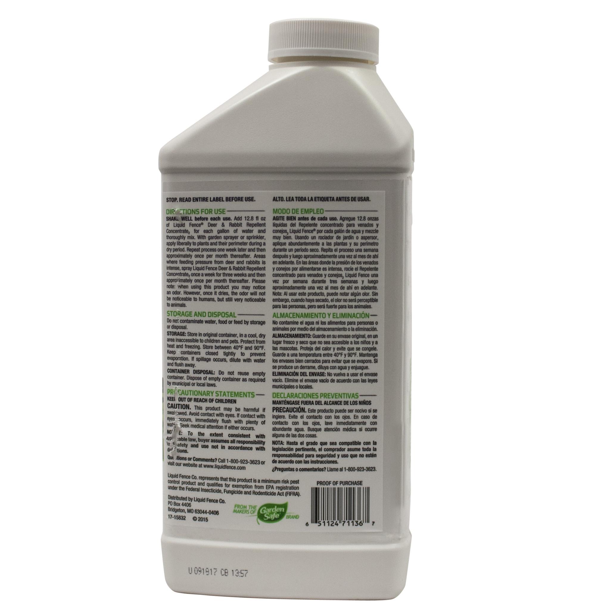 Liquid Fence Deer & Rabbit Repellent Concentrate 113 40 oz