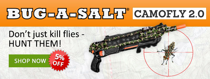 Don't just kill flies - hunt them with the Bug-A-Salt Camofly 2.0!