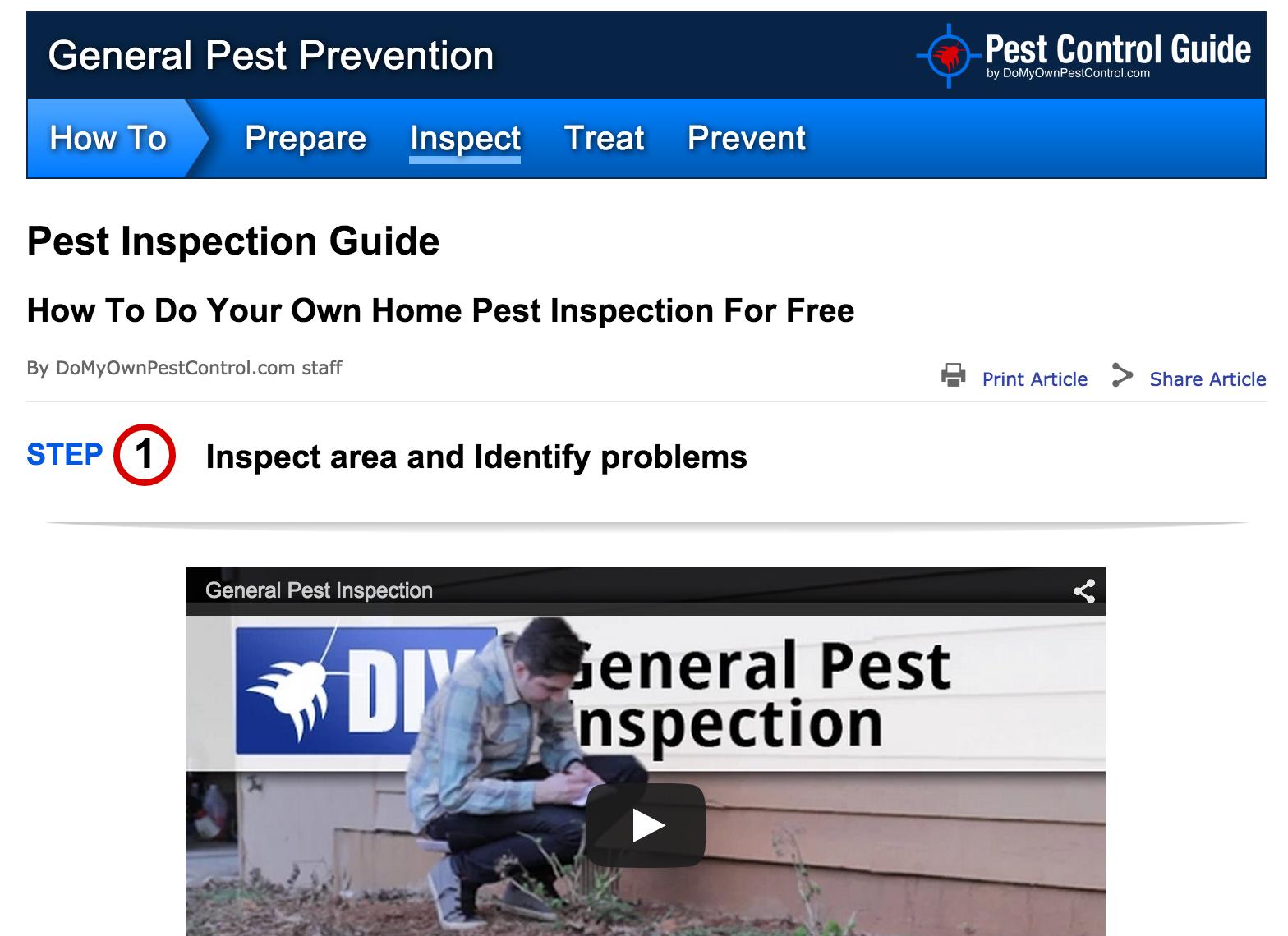 general pest inspection guide screenshot