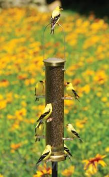 Aspects Thistle Tube Antique Brass Quick Clean Base Bird Seed Feeder Medium (402)
