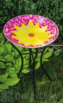 Evergreen Enterprises Bright and Cheerful Daisy Mosaic Bird Bath with Stand (2GB225)