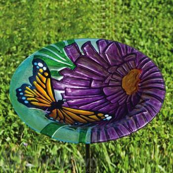 Evergreen Enterprises Monarch Floral Glass Stake Bird Bath (2GB131)