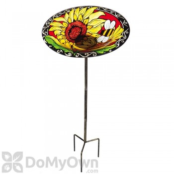 Evergreen Enterprises Vibrant Sunflowers Bird Bath on Stake (2GB270)