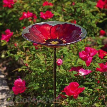 Evergreen Enterprises Ruby Pansy Glass Bird Bath with Stake (2GM311)