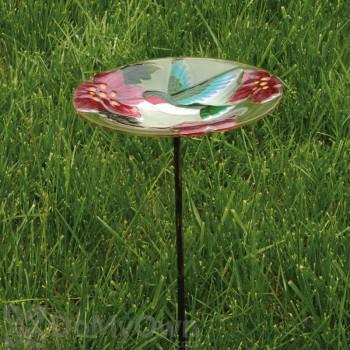 Evergreen Enterprises Hummingbird Glass Bird Bath with Stake (2GM314)