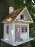 Home Bazaar White with Lavender Shotgun Cottage Bird House (HB9029WL)