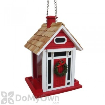 Home Bazaar Red Christmas Cottage Bird Feeder (HB9033CRS)