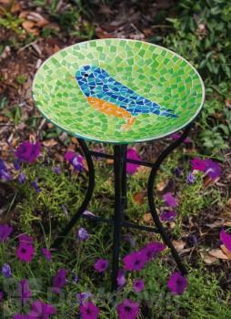Evergreen Enterprises Bluebird Mosaic Bird Bath with Stand 13 in. (2GB223)