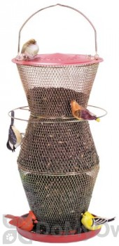 No / No Feeder Red and Brass 3 Tier Super Bird Feeder 18 in. (RB300335)