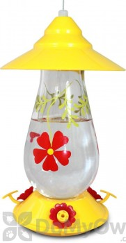 PineBush Hummingbird Glass Feeder with Painted Flowers (88028)
