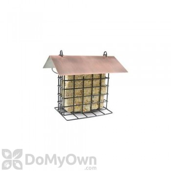 PineBush Metal Suet Bird Feeder with Brushed Cooper Roof (07507)