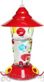 PineBush Glass Handpainted Dots Hummingbird Feeder 17 oz. (88026)