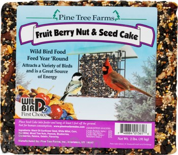 Pine Tree Farms Fruit Berry Nut and Seed Cake Bird Food 2 lb. (1361)