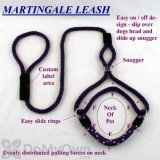 Soft Lines Martingale Dog Leash - 6 Foot x 3 / 8