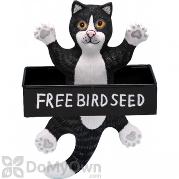 Songbird Essentials Dangling Black and White Cat Square Metal Tray Bird Feeder (SE3870132)