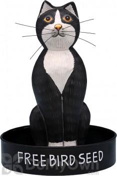 Songbird Essentials Sitting Black and White Cat Round Metal Tray Bird Feeder (SE3870221)