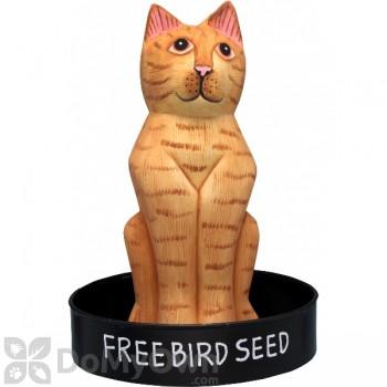 Songbird Essentials Sitting Orange Tabby Cat Round Metal Tray Bird Feeder (SE3870233)