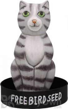 Songbird Essentials Sitting Grey Tabby Cat Round Metal Tray Bird Feeder (SE3870240)