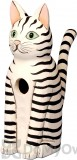 Songbird Essentials Sitting Black and White Striped Cat Bird House (SE3880111)
