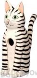 Songbird Essentials Sitting Black and White Striped Cat Bird House (SE3880111)