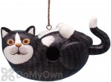 Songbird Essentials Black & White Cat on His Back Bird House (SE3880193)