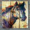 Gizaun Art Signature Series 1 Black Stallion Inside/Outside Full Color Cedar Wall Art (28