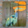 Gizaun Art Signature Series 1 Great Blue Inside Outside Full Color Cedar Wall Art