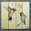 Gizaun Art Signature Series 1 Love Birds Inside/Outside Full Color Cedar Wall Art