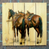Gizaun Art Signature Series 1 Saddle Up Inside/Outside Full Color Cedar Wall Art (33