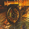 Gizaun Art Fly Reel Inside Outside Full Color Cedar Wall Art