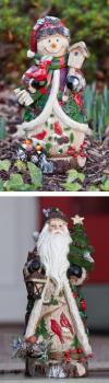 Evergreen Enterprises Santa and Snowman Small Statues - 2 Assorted (843445)