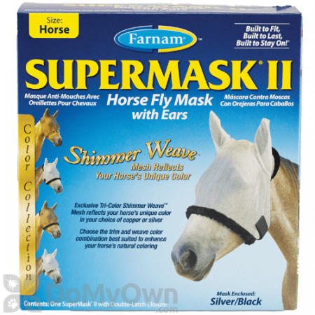 Farnam SuperMask II Horse Fly Mask Shimmer Weave with Ears