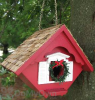 Home Bazaar Christmas Wren Cottage Bird House with Removable Wreath (HB2044C)