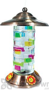 PineBush Glass Painted Squares Hummingbird Feeder Copper 27 oz. (88153)