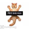 Songbird Essentials Dangling Orange Tabby Cat Square Metal Tray Bird Feeder (SE3870133)