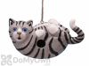 Songbird Essentials Grey Tabby Cat on Back Bird House (SE3880194)