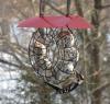 Songbird Essentials Red Roof Round Wire Circle Suet Ball Bird Feeder (SE908)